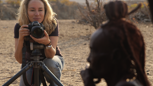 lisa with himba woman and camera